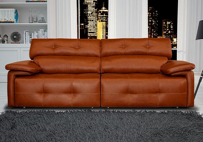 Sofá retrátil e reclinável de couro marrom