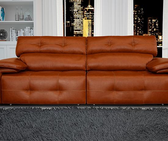 Sofá de couro retrátil e reclinável marrom