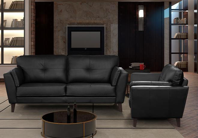 Sofá rde couro preto