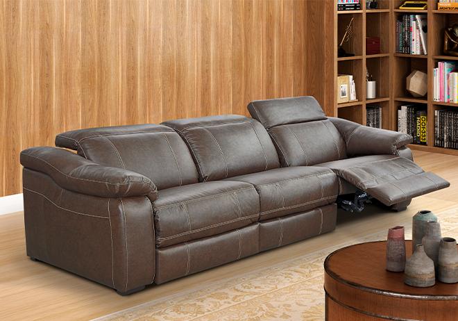 Sofá elétrico retrátil e reclinável de couro marrom