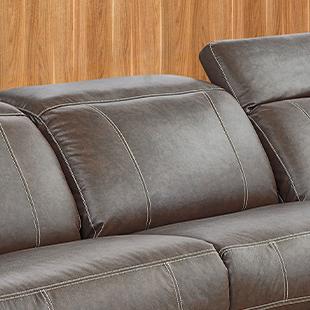 Encosto de Sofá de couro retrátil e reclinável marrom