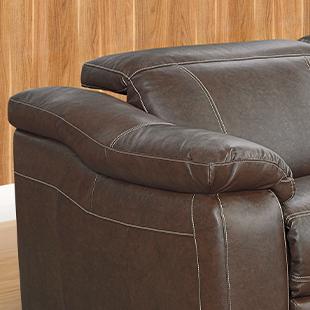 Braço de Sofá de couro retrátil e reclinável marrom
