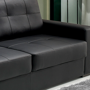 assento Sofá de couro preto modelo taurus