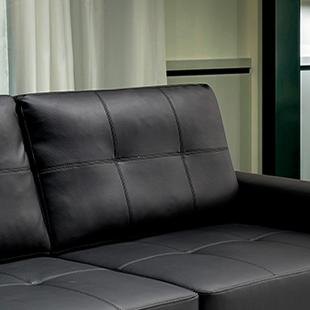 encosto Sofá de couro preto modelo taurus