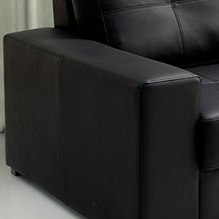 braço Sofá de couro preto modelo taurus
